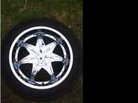 Four 20 inch rims and tires..brand dip tires are
