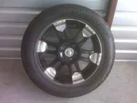20 inch rims & tires, set of 4, rims are black and