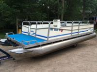 Pontoons, deck and railings are in good condition. 50