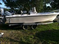 20' Center Console Maco fishing boat on a galvanized