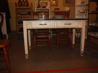 Vintage enamel top kitchen table with drawer, all