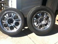 "4 chrome Rims used 6lugs 20"" + 6 tires all for $450"
