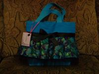 This is a small turquoise purse size tote that is