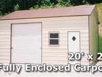 20' x 21' Fully Enclosed Carport Garage - Installation