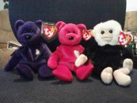 One is a purple beanie baby with a bright green stemmed