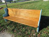 For sale is a nice church pew turquoise and dark walnut