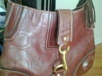 COACH HAMPTON CHOCO BROWN EMBOSSED STITCH SIGNATURE C