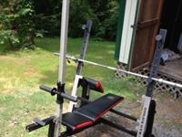 The model is the Golds Gym XR5 Olympic Weight Bench.