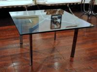 A Modern Chrome and Glass Barcelona Coffee Table,