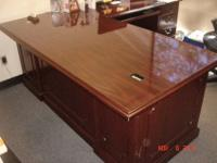 Solid wood, cherry colored, L shaped professional desk