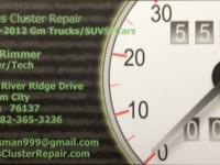 2000 - 2012 Gm Car and Truck Clusters. 1 gauge -