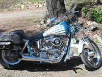 2000 Big Dog Pro-sport motorcycle blue and white. One