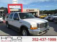 2000 FORD EXCURSION WHITE WITH BEIGE LEATHER INTERIOR-