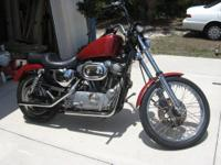 Red Harley Sportster, done old school so no turn