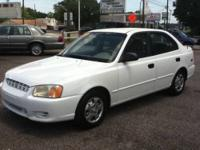 White 2000 Hyundai Accent 139k miles and in top