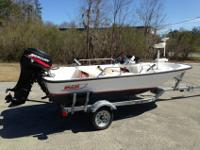 This boat is 13' with a 40hp Mercury, electric start,