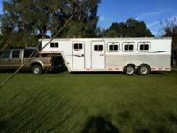 All aluminum four horse slant gooseneck horse trailer