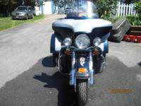 2001 Blue and Silver Harley Davidson with a DFT Trike
