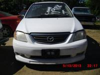STOCK NUMBER AA2065  2001 MAZDA MPV  WHITE EXT/TAN INT