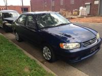 Up for sale is my nice blue 2001 TOYOTA COROLLA LE