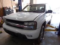 2002 TRAILBLAZER LT, 2WD, 4.2L, AT, WHITE, GREY LEATHER