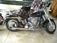 This is a Hand Built Motorcycle with a Santee Softail