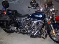 2002 blue harley  softtail 1430cc with first stage
