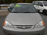 2002 HONDA CIVIC - SILVER, 2dr, 5-speed, pdl, pw, ps,