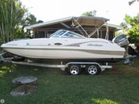21' Hurricane Sundeck with a 150 Yamaha HDPI. This may