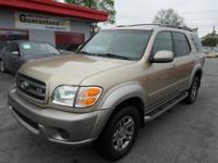 2002 TOYOTA SEQUOIA SR5 4WD GOLD ON TAN CLOTH . 3RD ROW