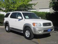2002 Sequoia 4x4 in white with grey cloth seats. Clean