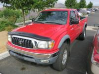 2002 Toyota Tacoma V6 Red 4WD 4-Speed Automatic with