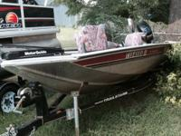 "17'3"" bass tracker with 50hp mercury, boat, motor,"