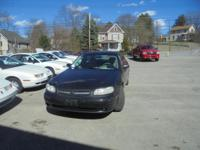 THIS 2003 CHEVY MALIBU SEDAN IN BLACK WITH GREY CLOTH