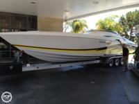 This 2003 DONZI 38 ZX is powered by Twin Mercruiser 575