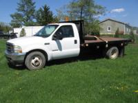 2003 FORD F-350 SUPER DUTY DIESEL FLAT BED TRUCK.