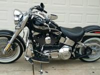 2003 Harley Davidson Fatboy black in color.The bike has