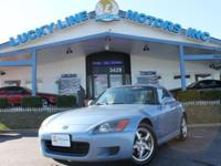 2003 HONDA S2000 BLUE WITH BLUE LEATHER INTERIOR.