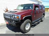 Clean CARFAX. Red 2003 Hummer H2 4WD 4-Speed Automatic