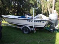 2003 16ft key west open fishermen outboard boat and