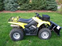 VERY NICE 2003 SUZUKI 2WD  QUAD RUNNER WITH PLOW. VERY
