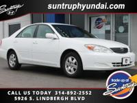 Clean CARFAX. Super White 2003 Toyota Camry LE FWD