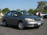 Estimated 38 MPG! Economy smart! This 2003 Corolla is
