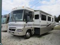 A 38'2 Class A Motorhome with two slide-outs ,Bank