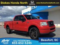 2004 Ford F-150 in Red. 4.6L V8 EFI and 4WD. The truck