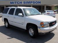 This is a nice 2004 GMC Yukon 2WD. It is White with