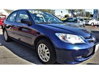 This is a beautiful BLUE 2004 HONDA CIVIC 4 DOOR SEDAN