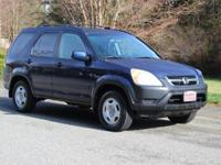 Clean CARFAX. Eternal Blue Pearl 2004 Honda CR-V EX AWD