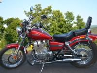 2004 Honda Rebel CMX250C with 1422 miles. Red in color.