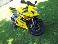 2004 Suzuki gsxr 600 yellow and black, vortex sproket,